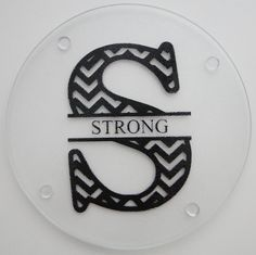 Personalized round glass cutting board, trivet, cheese board or decoration. Chevron initial and name