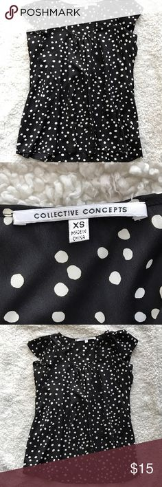 Collective concepts polka dot blouse Adorable ruffle sleeved short sleeve blouse with a fun polka dot print. Collective concepts brand's size xs. Like new condition! Collective Concepts Tops Blouses
