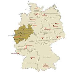 Locator Map of North Rhine-Westphalia. #map #germanymap #germany #mapgermany by conceptdraw