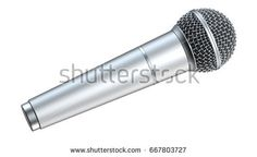 Silver microphone, isolated on white background, 3D render.