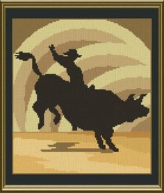 Bull Rider Silhouette - cross stitch pattern designed by Marv Schier. Category: Sports.