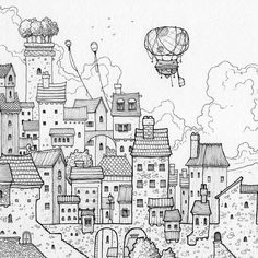 Great #airship #penandink #illustration by Rob Turpin (@thisnorthernboy) of a small #dirigible #floating freely above expansive #town of #masonry and #wood buildings of varying heights widths and #architectural details.  From the #roofing material to the #chimney designs; and from the number of stories to the number shape and distribution of #windows... it's very impressive to see such detail and so many interesting quirks and #characteristics applied to such a large number of #buildings in…