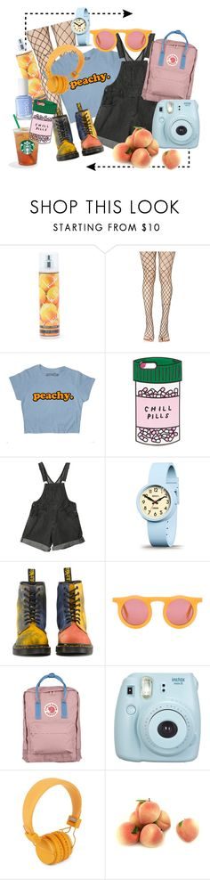 """""""Just peachy"""" by safi-a ❤ liked on Polyvore featuring Nicole Miller, Leg Avenue, ban.do, Newgate, Dr. Martens, Carla Colour, Fjällräven, Fujifilm, Urbanears and Essie"""