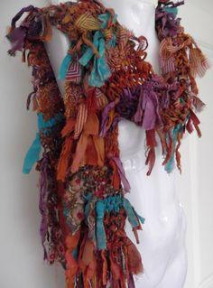 Soft Raggy Recycled Sari Silk and Chiffon Scarf amber by plumfish, $30.00