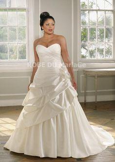Robe A-ligne bustier en coeur en taffetas décorée de ruches et de fleur robe de mariée [#ROBE202253] - robedumariage.info