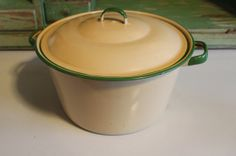 Vintage Beige and Green Enamelware Pot  Primitive by Mima55, $42.00