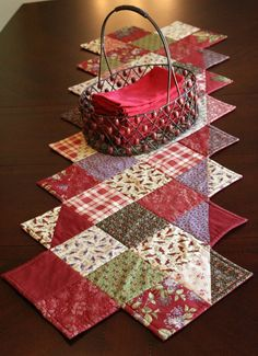 Quilted Table Runner Lilac Hill Moda Fabric of Cranberry Red, Lilac, Green Flowers, Birds, Plaid.
