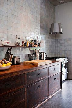 Kitchen - Tile wall, vintage cabinet, open shelving