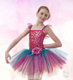 Curtain Call Costumes® - Rhapsody Stunning ballet dance costume with sequin bodice and flower trim.