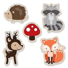Woodland Creatures Shaped Paper Cut Outs - Baby Shower or Birthday party Small Die Cut Decoration Kit - Hedgehog, Raccoon, Fox, Deer - 24 pc Woodland Theme, Woodland Baby, Woodland Creatures, Woodland Animals, Forest Animals, Baby Shower Themes, Baby Boy Shower, Shower Ideas, Moldes Para Baby Shower