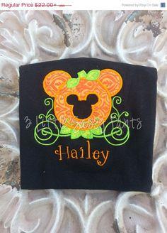 Minnie Mouse Pumpkin Carriage Embroidered Shirt- Minnie Mouse Halloween Shirt…