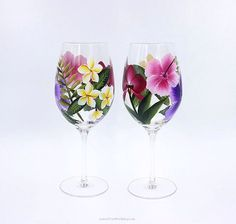 Hawaiian Tropical Hand Painted Wine Glasses Set of 2 Island Tropical Stemware Hibiscus Plumeria Orchid Decorated Wine Glasses, Hand Painted Wine Glasses, Orchid Color, Custom Tags, Memorable Gifts, Hibiscus, Hawaiian, Color Schemes, Tropical