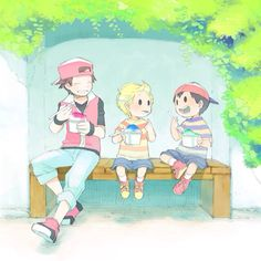 Lucas, Pokémon Trainer and Ness eating snow cones.<--- excuse me that is Red not Pokemon trainer