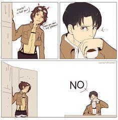 """Hanji and Rivaille (Levi), Shingeki no Kyojin. """"No"""". xD"""