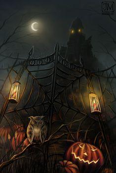 Digital Art by Jeremiah Morelli Halloween Kunst, Halloween Raven, Halloween Artwork, Halloween Quotes, Halloween Pictures, Halloween Wallpaper, Vintage Halloween, Haunted Halloween, Haunted Diy