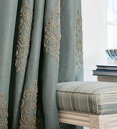 Beaded Damask Fabric by Travers Damask Curtains, Cotton Curtains, Blue Curtains, Drapery Fabric, Textile Patterns, Textiles, Lotus Design, Pattern Wallpaper, Upholstery