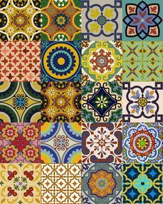 Set of 24 tile stickers Mexican Talavera style by AlegriaM on Etsy