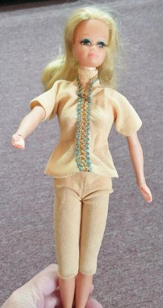 Vintage Doll Clothes Beige Peach Tunic & Leggings 60's Mid Century Fashion Barbie Doll Clothing Embroidery Twist and Shout by OffbeatAvenue on Etsy