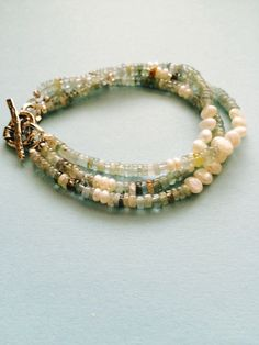 Aquamarine Heishi and Pearl Bracelet with Sterling Silver