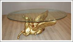 Tavolo cristallo e scultura cavallo alato dorato oro foglia, firmato