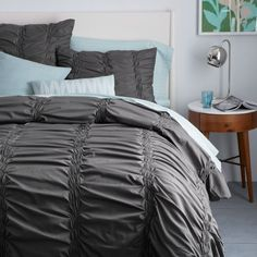 Organic Smock Pleated Duvet Cover + Cushion Covers - Slate