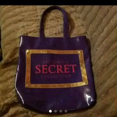Victoria's Secret Tote VS Tote - Purple, pink and gold with leopard print inside, 1 zipper compartment inside, snaps close, some normal wear - minimal. Victoria's Secret Bags Totes