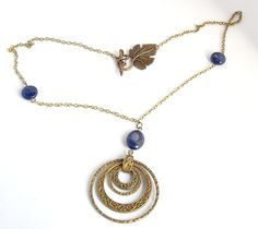 Brass Circle Pendant Necklace with Blue Lapis Lazuli Stones by KristasJewellery on Etsy