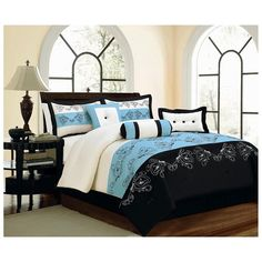 Chic Home Lily 7 Piece Comforter Set Size: Queen, Color: Sage Luxury Comforter Sets, King Size Comforter Sets, Blue Comforter Sets, King Size Comforters, Green Comforter, Floral Comforter, Black Bedding, Embroidered Bedding, Bed In A Bag