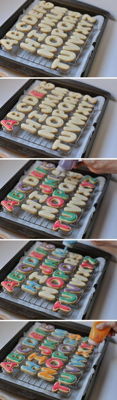 use Squeeze Bottles to frost cookies... frosting used an unmeasured mix of powdered/confectioner's sugar, vanilla or almond extract & milk, stirred together into a not too thick, not too thin frosting... also adding food coloring. DIY Alphabet Cookies
