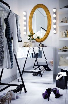 Dream closet look! IKEA MALM mirrored drawers - I know I would never be able to keep it clean...