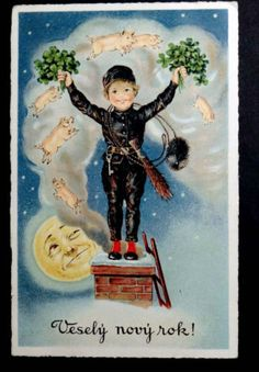 An odd collection of good luck symbols for the new year on this antique postcard...pretty quirky!  New Year Postcard 1935 CHIMNEY SWEEP Pigs in Smoke MAN IN THE MOON