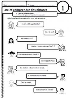 Lire des phrases simples, comprendre, compréhension, Cp, CE1, inférences French Teacher, Teaching French, Education And Literacy, Student Learning, Reading Resources, Reading Activities, French Basics, French Greetings, French Worksheets