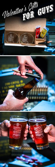 """The best Valentine's Day gift for the beer-loving adventurer is the Personalized Pint Set Ammo Can, so he can take """"Bring Your Own Booze"""" to a whole new level."""