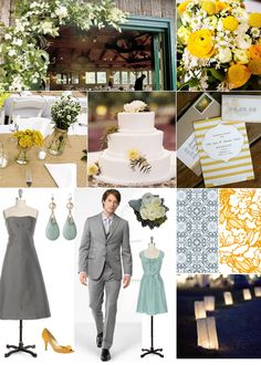 Yellow, gray, and mint