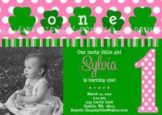 Shamrock St. Patricks Day Custom Printable Digital Photo Birthday Invitation by DimplePrints. $13.00, via Etsy.