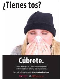 flu poster - cough - spanish, there are other health related posters on this site as well