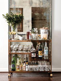 Classic & elegant bar cart styling.