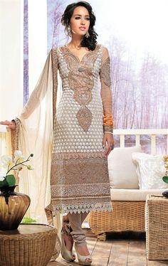 Picture of Indian Ethnic Grey Color Churidar Kameez