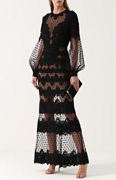 Женское черное приталенное кружевное платье-макси Elie Saab, арт. 8974 купить в ЦУМ | Фото №2
