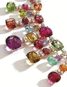 18 Karat Gold, Colored Stone and Diamond Necklace, Michele della Valle