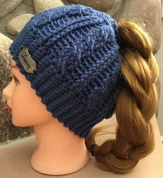 Cable Mable Messy Bun Beanie by HookedHoltby on Etsy