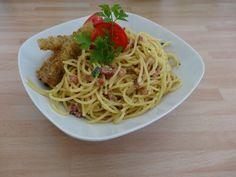 Czary w kuchni- prosto, smacznie, spektakularnie.: Pomysł na spaghetti Ala Carbonara Spaghetti, Seafood, Ethnic Recipes, Sea Food, Noodle, Seafood Dishes