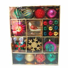 Holiday Living 30-Pack Teal, Green, Red, Gold, Blue, and Pink Ornament Set