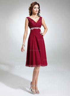 [US$ 126.99] Corte imperial Escote en V Hasta la rodilla Chifón Encaje Vestido de madrina con Fajas Bordado Lazo(s)