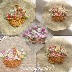 Смотрите это фото от @pinkymomoko3 на Instagram • Отметки «Нравится»: 189 Embroidery Flowers Pattern, Hand Embroidery Stitches, Silk Ribbon Embroidery, Crewel Embroidery, Hand Embroidery Designs, Embroidery Techniques, Cross Stitch Embroidery, Japanese Embroidery, Needlework