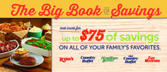 Ryan's, HomeTown Buffet, & Old Country Buffet: The Big Book of Savings 10/22 Daily #US Come enter 2 win! http://wp.me/p2Zbi5-2Pv @s8r8l33