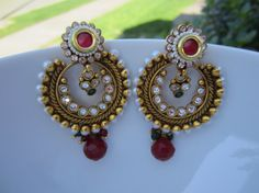 Red Stone and Pearl Chandbali Indian Jewelry Bollywood by Alankaar, $30.00