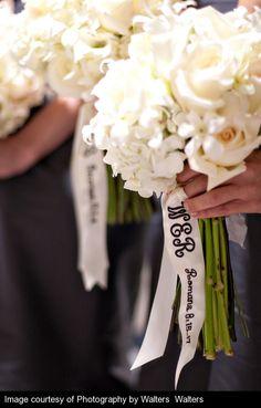 monogrammed bridesmaid's bouquet ribbon.