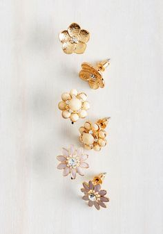 Floral Decorum Earring Set - Party, Work, Casual, Daytime Party, Darling, Summer, Gold, Good, Gold, Blush, Rhinestones