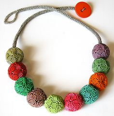 Nita E Kaufman - Another icosahedron necklace (20 sided balls from Diane Fitzgerald's book). These balls are built one on top of the other - they are NOT strung. Very tough to figure this out.